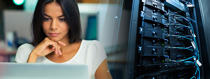 woman using server